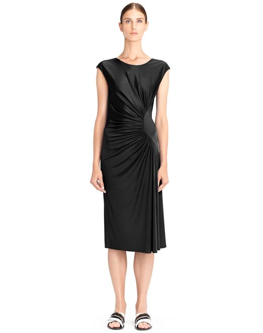 lanvin black draped jersey dress women