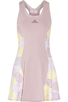 ADIDAS by STELLA McCARTNEY Mesh-paneled printed stretch-jersey tennis dress