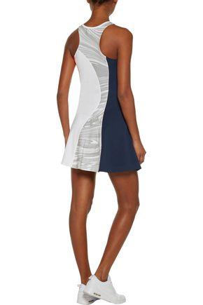 ADIDAS by STELLA McCARTNEY Flared paneled printed stretch mini tennis dress