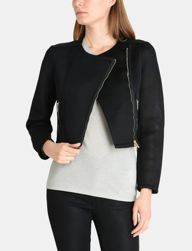 PIECED PERFORATED MOTO JACKET