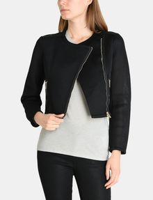 ARMANI EXCHANGE PIECED PERFORATED MOTO JACKET Jacket Woman f