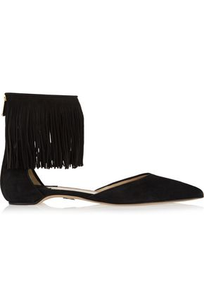 PAUL ANDREW Espanola fringed suede point-toe flats