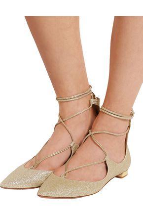 AQUAZZURA Christy glittered leather point-toe flats