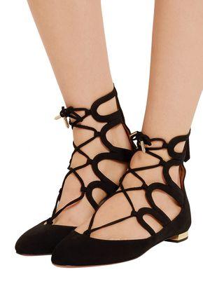 AQUAZZURA Holli cutout suede point-toe flats