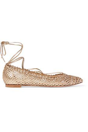 GIANVITO ROSSI Woven metallic leather flats