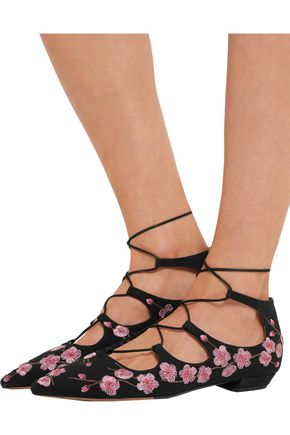 TABITHA SIMMONS Magnolia Blossom embroidered canvas point-toe flats