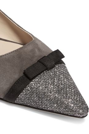 JIMMY CHOO Dorothy glittered suede point-toe flats