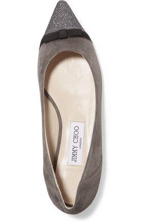 JIMMY CHOO Dorothy glittered suede point-toe flats