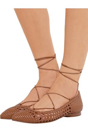 MICHAEL KORS COLLECTION Kallie woven leather point-toe flats