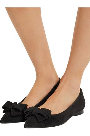 MICHAEL KORS COLLECTION Marla bow-embellished suede point-toe flats