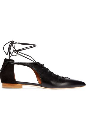 MALONE SOULIERS Montana lace-up leather and suede point-toe flats