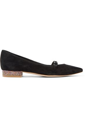 SOPHIA WEBSTER Piper embellished suede point-toe flats