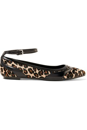 TOD'S Leopard-print calf hair and leather point-toe flats