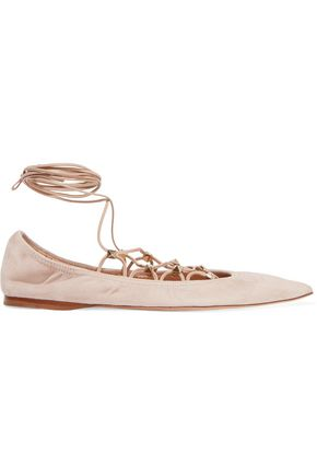 VALENTINO Lace-up suede point-toe flats