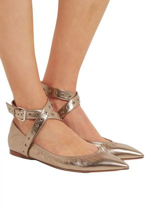 VALENTINO Love Latch metallic leather point-toe flats