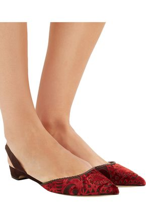 PAUL ANDREW Rhea flocked suede point-toe flats