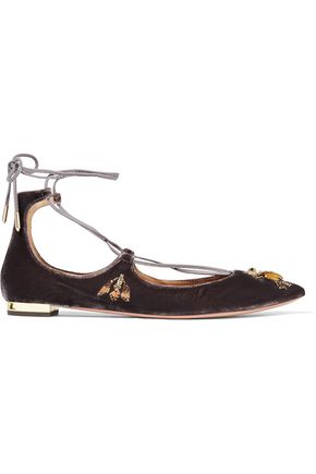 AQUAZZURA Christy Fauna embellished velvet point-toe flats