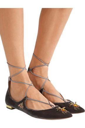 AQUAZZURA Christy Fauna embellished velvet point-toe flats
