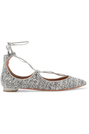 AQUAZZURA Christy leather-trimmed metallic bouclé point-toe flats