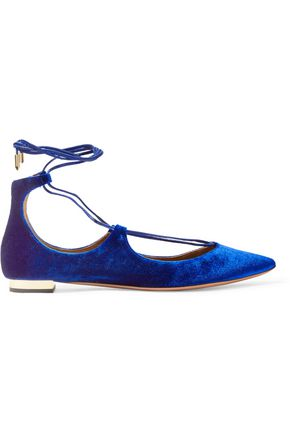 AQUAZZURA Christy velvet point-toe flats
