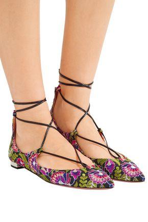 AQUAZZURA Christy embroidered canvas point-toe flats