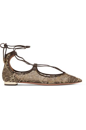 AQUAZZURA Christy leather-trimmed embroidered mesh point-toe flats