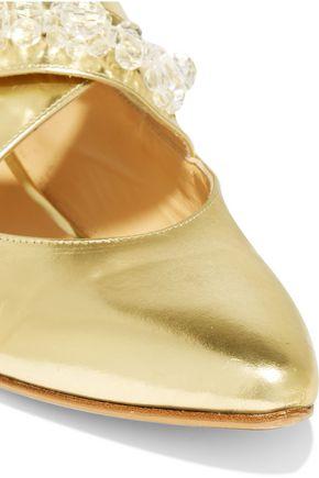SIMONE ROCHA Embellished metallic leather point-toe flats