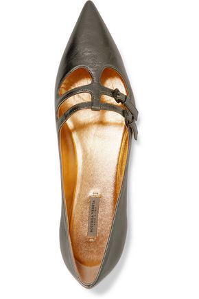 BOTTEGA VENETA Metallic textured-leather point-toe flats