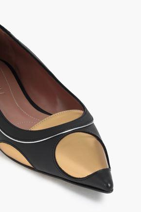 MARNI Metallic-paneled leather point-toe flats