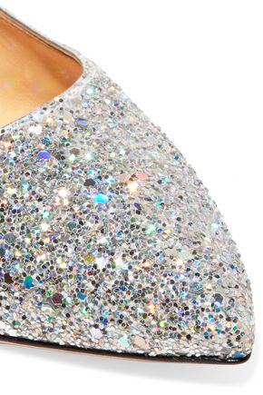 CHARLOTTE OLYMPIA Uma glittered canvas point-toe flats