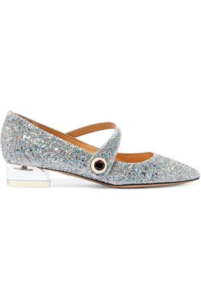 CHARLOTTE OLYMPIA Uma glittered canvas point-toe flats