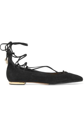 SCHUTZ Tori lace-up suede point-toe flats