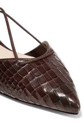 SCHUTZ Neida lace-up croc-effect leather point-toe flats