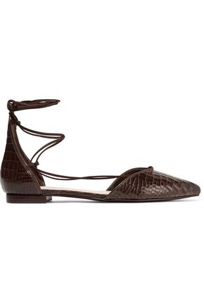 SCHUTZ Neida lace-up croc-effect leather point-toe flats