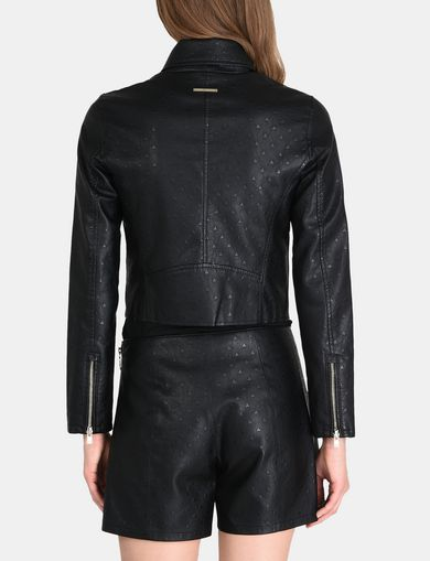 EMBOSSED CROPPED MOTO JACKET