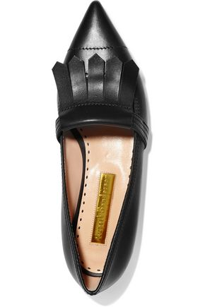 RUPERT SANDERSON Fringed leather point-toe flats