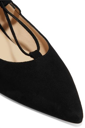8 Lace-up suede point-toe flats