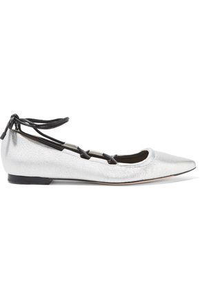 3.1 PHILLIP LIM Kiddie lace-up metallic textured-leather point-toe flats