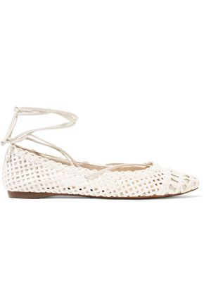 SCHUTZ Welch woven leather point-toe flats
