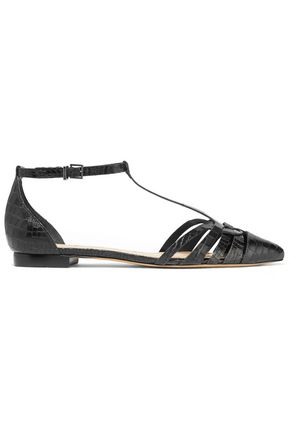 SCHUTZ Brinne croc-effect leather point-toe flats