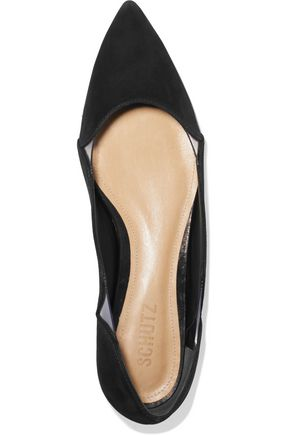 SCHUTZ Laina PVC-trimmed suede pointed-toe flats