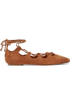 SCHUTZ Adona lace-up suede point-toe flats
