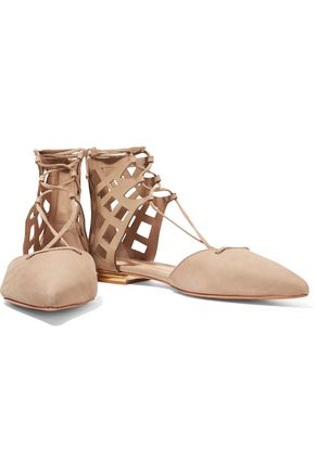 SCHUTZ Kiley lace-up laser-cut nubuck point-toe flats
