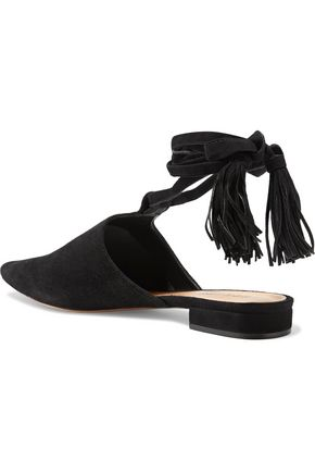 SCHUTZ Cheeky lace-up suede point-toe flats