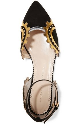 CHARLOTTE OLYMPIA Machine Age metallic leather-trimmed embellished point-toe flats