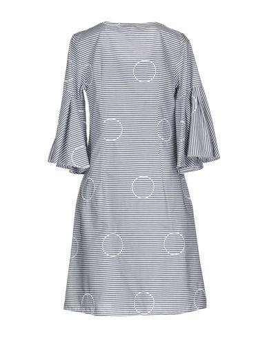Фото 2 - Женское короткое платье CAMICETTASNOB темно-синего цвета