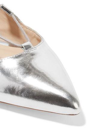 LOEFFLER RANDALL Ambra lace-up metallic patent-leather point-toe flats