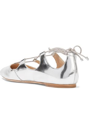 LOEFFLER RANDALL Ambra lace-up metallic patent-leather point-toe flats