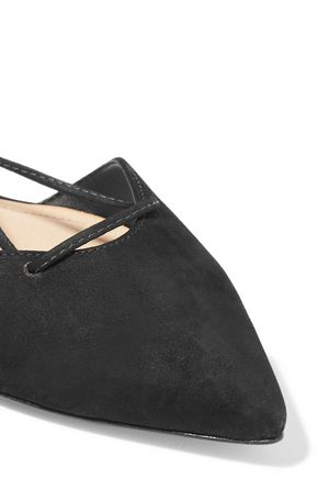 SCHUTZ Neida lace-up nubuck point-toe flats