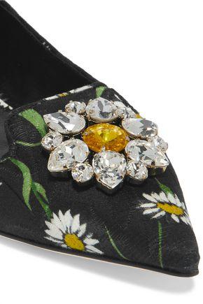 DOLCE & GABBANA Embellished jacquard point-toe flats